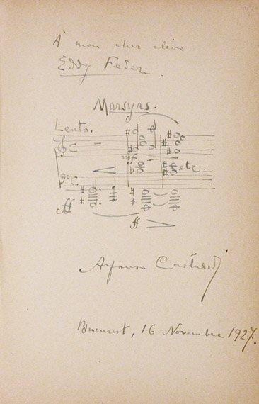 1003: CASTALDI, ALFONS Autograph musical quotation sign
