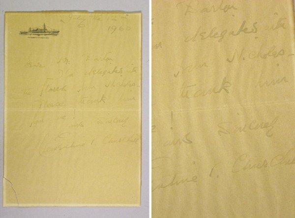 1004: CHURCHILL, CLEMENTINE [MRS. WINSTON S.] Autograph