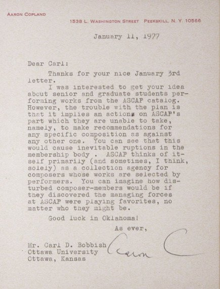 1005: COPLAND, AARON Typed letter signed (
