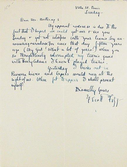 1010: FITZGERALD, F. SCOTT Autograph letter signed