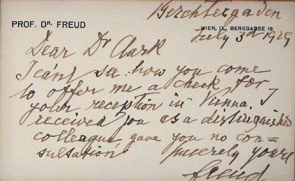 1012: FREUD, SIGMUND Autograph note in English signed