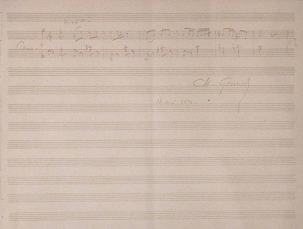 1014: GOUNOD, CHARLES Autograph musical quotation signe