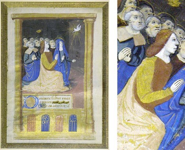 1017: French Medieval Illustratrated Manuscript page