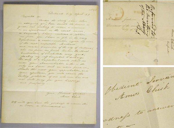 1018: JACKSON, ANDREW Autograph endorsement of three li