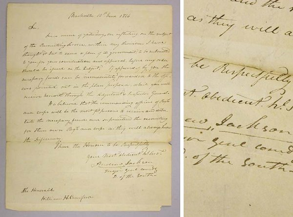 1022: JACKSON, ANDREW Autograph letter signed