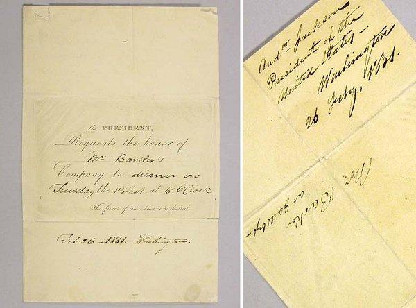 1023: JACKSON, ANDREW Invitation as President