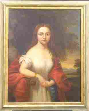 19th Century School PORTRAIT OF A YOUNG WOMAN IN
