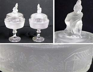Pair of Covered Glass Compote