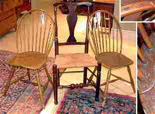 Two Windsor Bow Back Side Chairs; Together with a