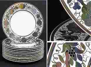Set of Eleven Wedgwood Silver Lustre Dinner Plate