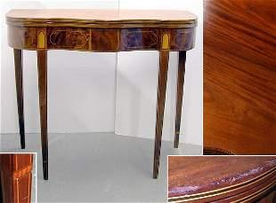 Federal Inlaid Mahogany Fold-Over Card Table