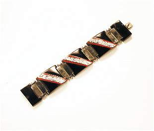 Art Deco Enameled Link Bracelet