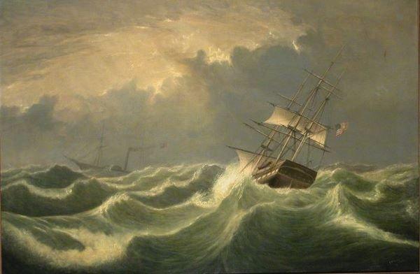 191: Fitz Hugh Lane 1804-1865 SHIPS PASSING IN ROUGH SE