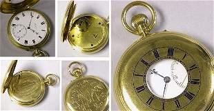 Gold and Enamel Demi Hunter Karrusel Watch