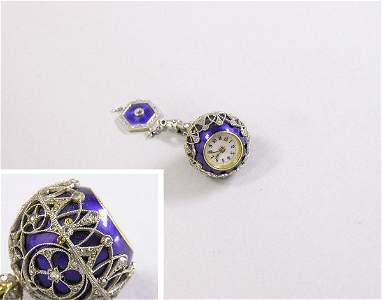 1211: Enamel and Rose Diamond Lapel Ball Watch