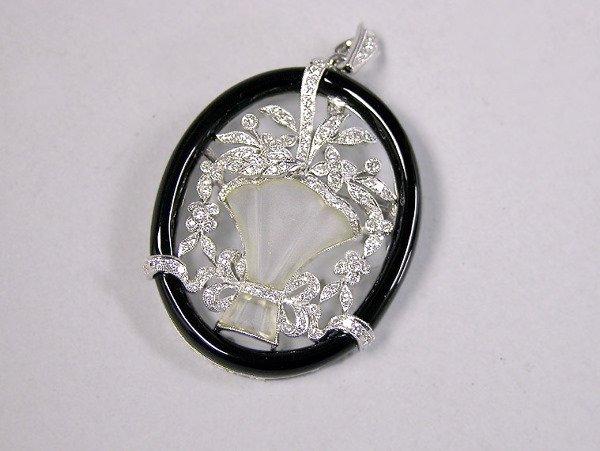 1251: Diamond, Rock Crystal and Black Onyx Pin/Pendant