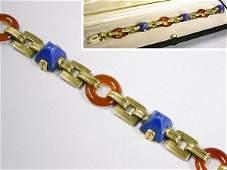 1332: Lapis Lazuli and Carnelian Bracelet