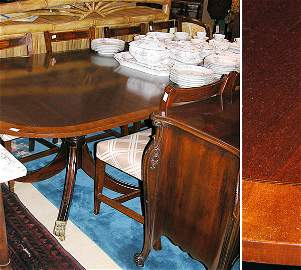 2191: Regency Style Double-Pedestal Dining Table with O