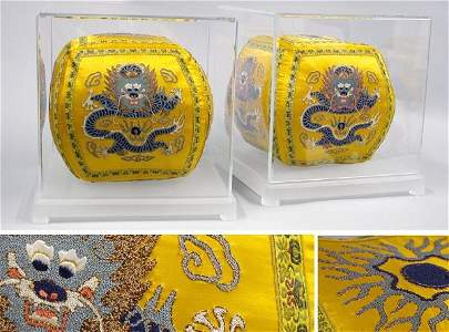 2375: Two Chinese Silk Embroidered Dragon Decorated Pil