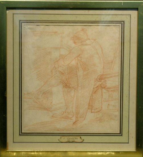 1012: Follower of Jean-Baptiste Chardin MAN SEATED BEFO