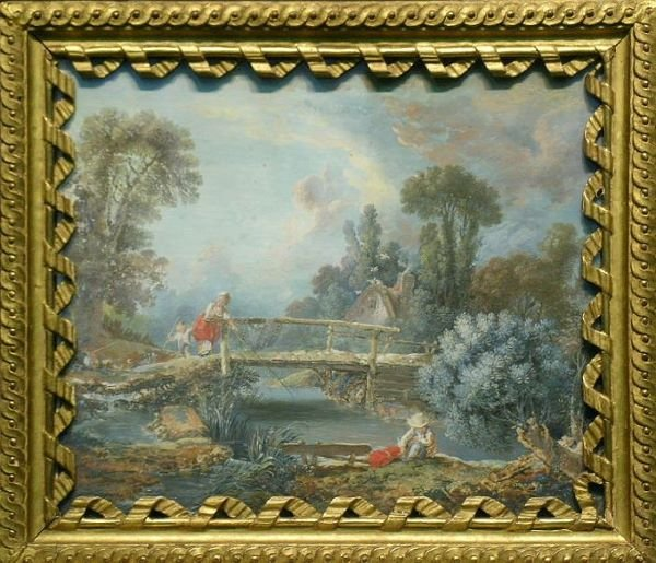 1013: Manner of Francois Boucher FISHERFOLK IN A LANDSC