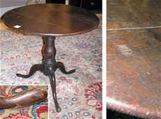 1267: Provincial George III Oak Tilt-Top Tripod Table