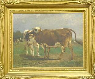 Attributed to William Henry Howe COWS IN A FIELD