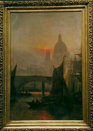 A.R. Williams 19th Century CANAL AT SUNSET
