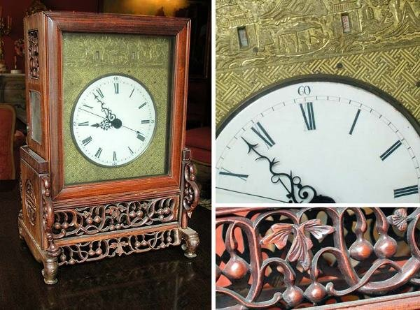 2202: Chinese Rosewood Mantel Clock