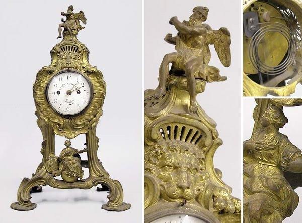 2326: Rococo Style Gilt-Bronze Mantel Clock