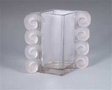2498: Lalique Mold Blown Amiens Glass Vase