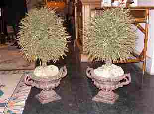 Pair of Neoclassical Style Composition Urns with