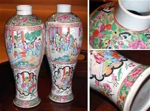 Pair of Chinese Rose Medallion Porcelain Vases