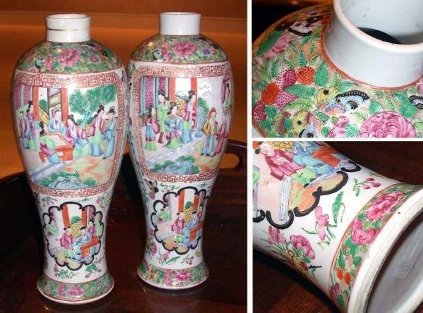 3003: Pair of Chinese Rose Medallion Porcelain Vases