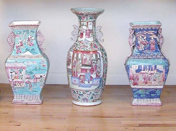 3005: Group of Three Chinese Enameled Porcelain Vases