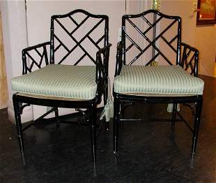 Pair of Regency Style Faux Bamboo Black Painted O
