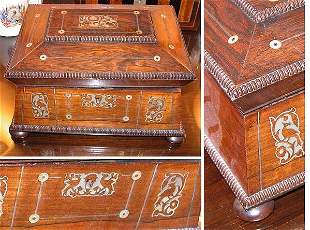 William IV Mother-of-Pearl Inlaid Rosewood Sewing