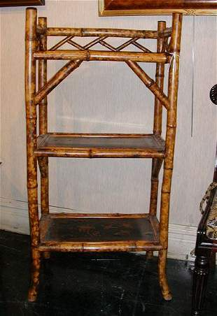 Victorian Gilt Decorated Black Lacquered Bamboo T
