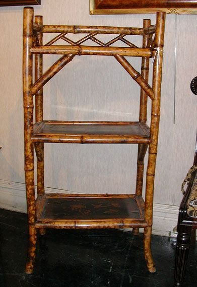 3022: Victorian Gilt Decorated Black Lacquered Bamboo T
