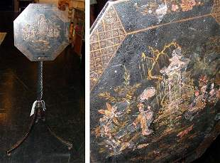 Chinese Export Style Gilt Decorated Black Lacquer