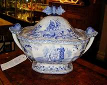 3049 Staffordshire Blue and White Pottery Covered Soup