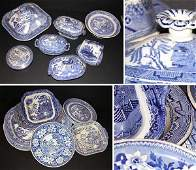 3110: Miscellaneous Group of Staffordshire Blue and Whi
