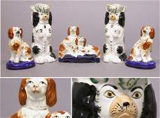 3193: Three Staffordshire Pottery Figures of Spaniels;