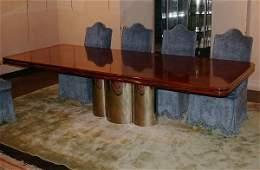 125: Radial Mahogany Pedestal Dining Table