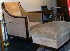 128: Pair of Art Deco Sstyle Upholstered Chairs and Ott