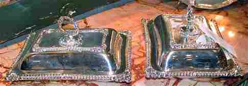 379 Pair of English Silver Plated Covered Entree Dishe