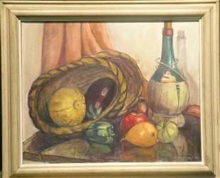 Martha Abalof 20th Century STILL LIFE WITH WINE,