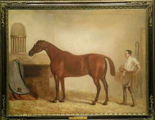 Circle of John Ferneley A BAY RACEHORSE WITH A GR