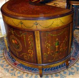 1273: Neoclassical Style Painted Demilune Side Cabinet