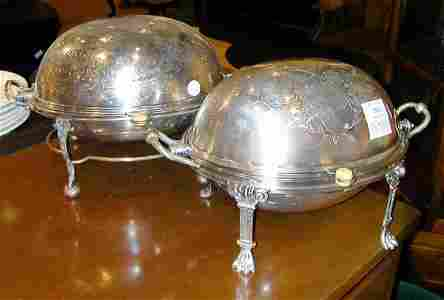 1306: Two Silver Plated Bacon Dishes